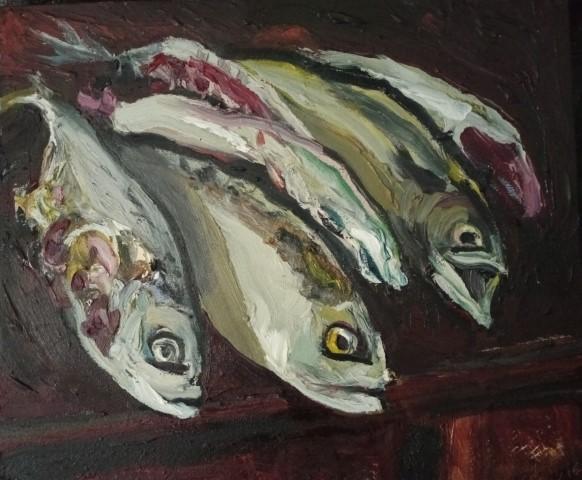Maquereaux. Oil on canvas. 50 cm x 43 cm