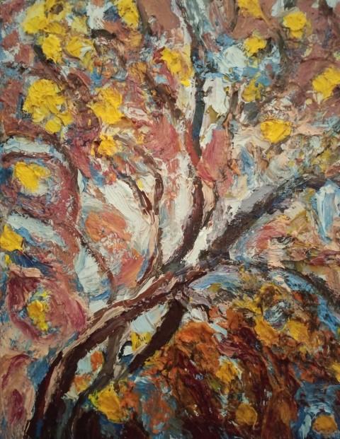 Floraison automnale. Oil on canvas 50 cm X 43 cm
