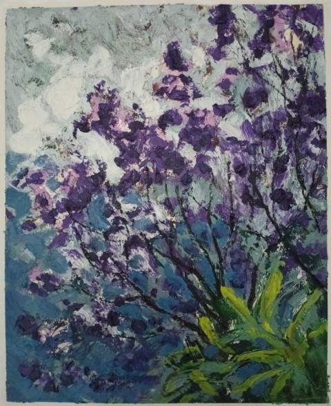 Jacarandas ciel d'orage. Oil on canvas 50 cm x 43 cm