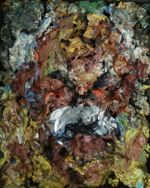 Portait of Jean Varda. Oil on cardboard and mix mediums. 32 X 27 cm