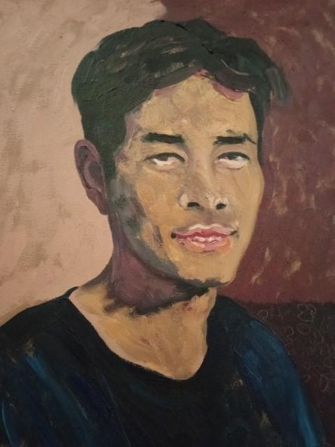 Portrait de jeune homme; Oil on canvas 51 cm x 42 cm