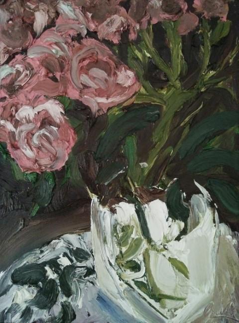 Roses dans un verre. Oil on canvas 41 cm x 31 cm