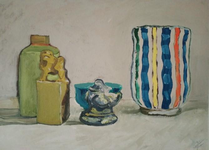 vase et bibelots. Oil on canvas. 42 cm x 33 cm