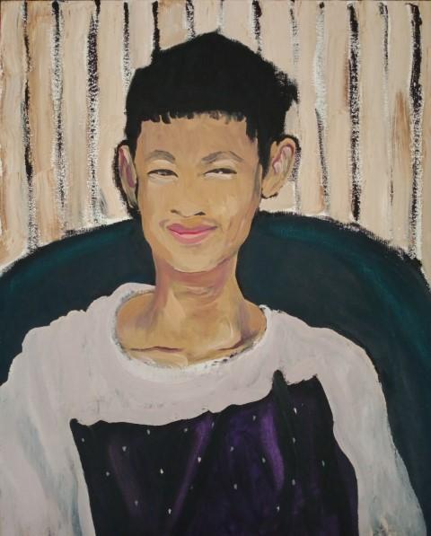 Ami souriant. Oil on canvas 70 cm x 58 cm