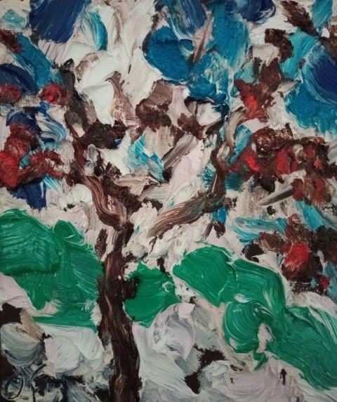Arbre sur ciel. Oil on canvas 30 cm x 24 cm