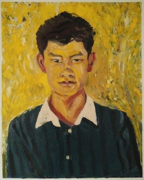 L'ami Thaï fond jaune. Oil on canvas 69 cm x 56 cm